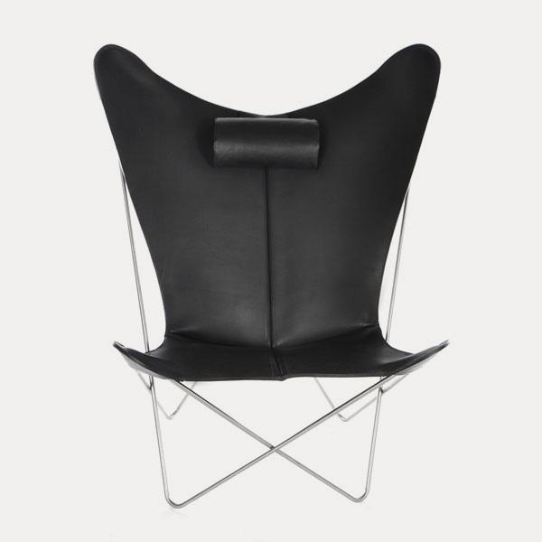 OX Denmarq, KS-chair, Danish Design, Butterfly chair, Scandinavisch design, zwart leder, Vintage